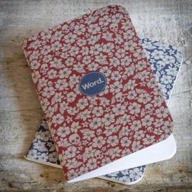 CARNET RED FLORAL & SKULLS  - PACK DE 3 made in USA
