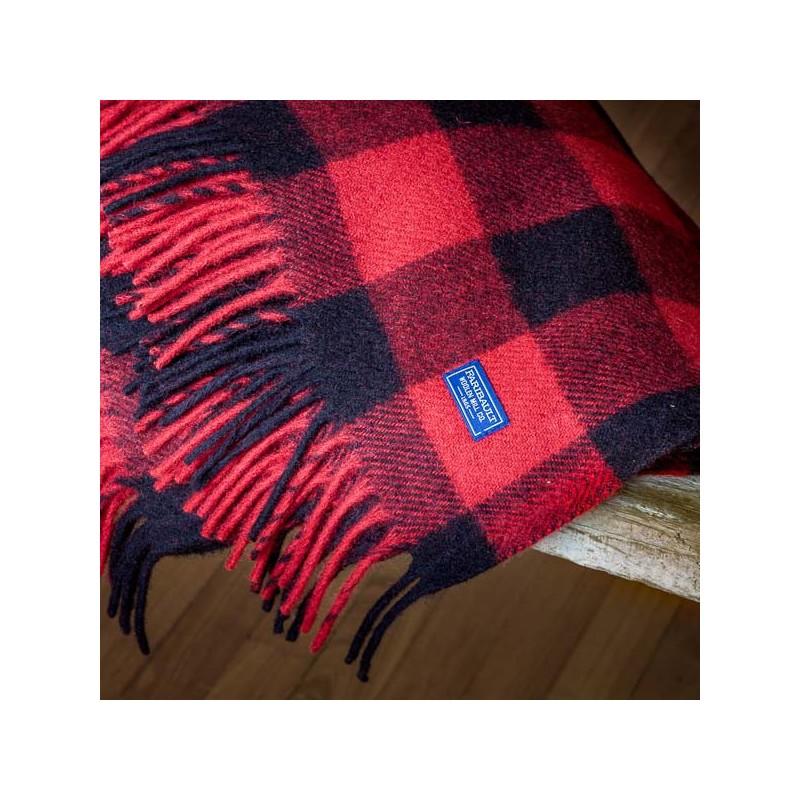Buffalo Plaid Fringe Wool Throw Heather Red Black