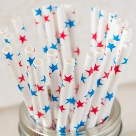 24 Pailles papier étoiles Bleu & Rouge  made in USA