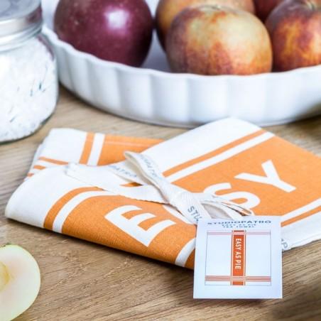 "Tea Towel 100% Linen ""Easy as a pie"" made in USA"