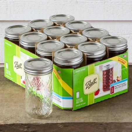 Pack 12 X 3.10€ Mason Jar Regular Quilt 12oz Made in USA