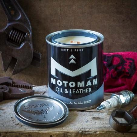Bougie parfumée huile & cuir MOTOMAN -made in USA