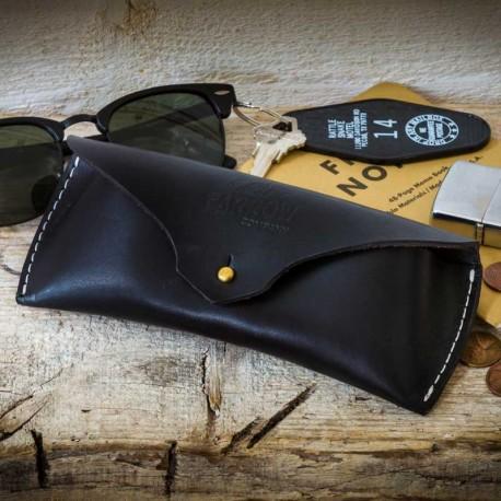 Etui à lunettes cuir noir - Farrow Co - made in USA