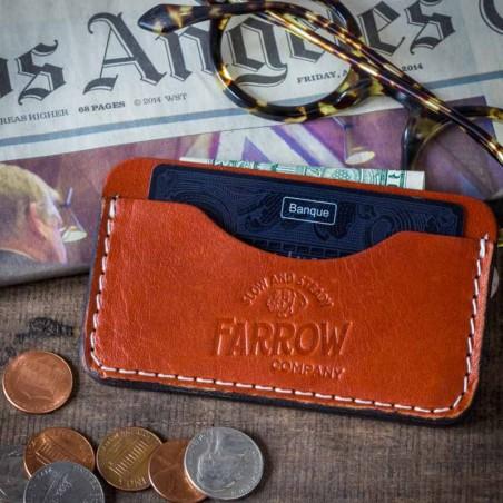 Porte Carte de credit cuir brun - Farrow Co - made in USA