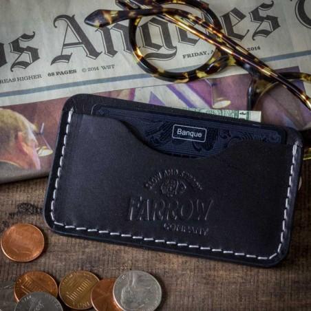 Porte Carte de credit cuir noir - Farrow Co - made in USA