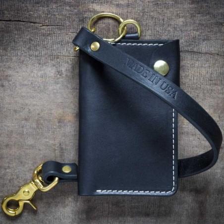 Portefeuille Sangle cuir noir - Farrow Co - made in USA