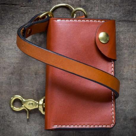 Portefeuille Sangle cuir brun - Farrow Co - made in USA