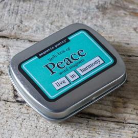 Boîte de mots magnets. Thématique PEACE – Made in USA