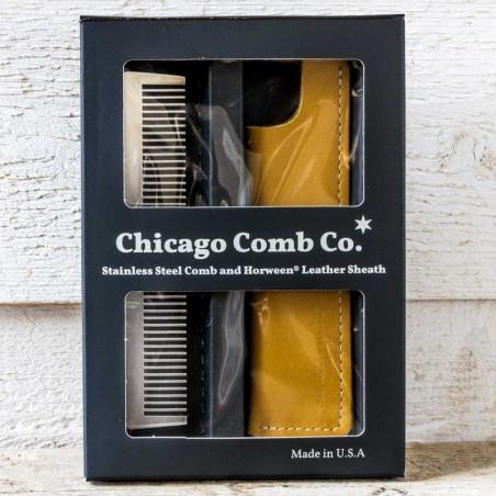 Coffret peigne inox+Etui cuir CHICAGO COMB Made in USA