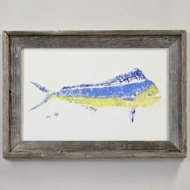 IMPRESSION D'ART GYOTAKU MAHI MAHI 30x45cm