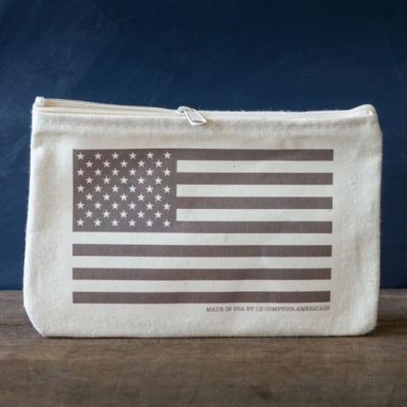 """Trousse coton """"Drapeau USA"""" monochrome - made in USA"""