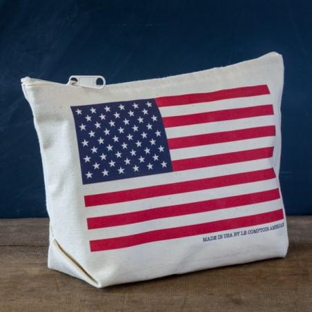 "Trousse coton ""Drapeau USA"" couleur - made in USA"